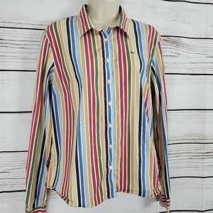 Lacoste | Rainbow Striped Stretchy Buttoned Top